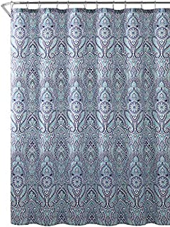 Hudson Essex Blue Teal Purple Cloth Fabric Shower Curtain Floral Paisley Print Design