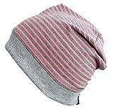 Wollhuhn ÖKO Beanie-Mütze grau-rosa gestreift (aus Öko-Stoffen, Bio) für Mädchen, 20141128, Größe: M
