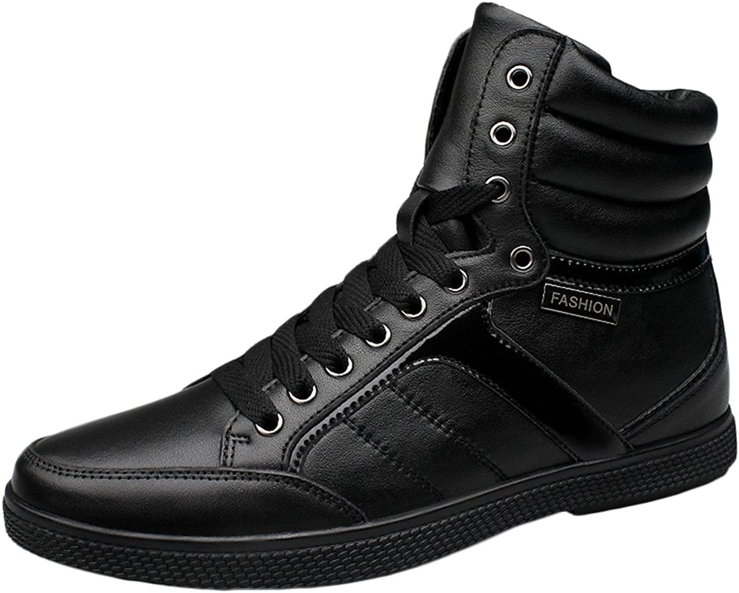 SK Studio Leather High Top Black Sneakers for Men Casual shoes