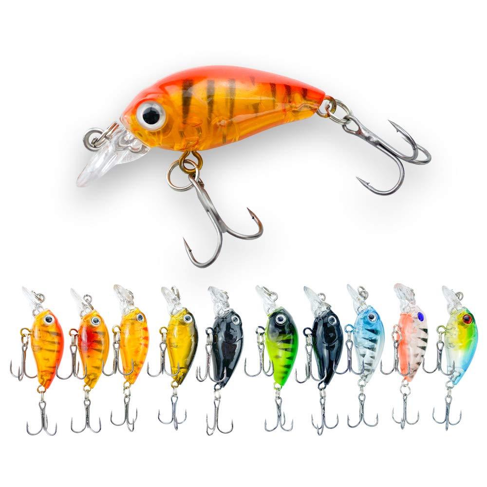 5Pcs 8cm Mix-Color Simulation Fish Fishing Bait  Lure with Treble Hook Tackle