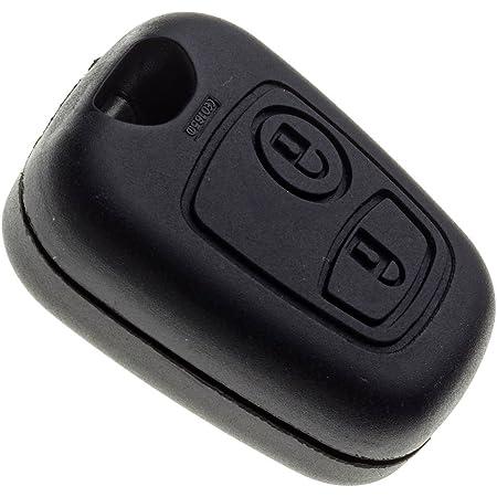 JONGO - Coque de Clé sans Lame Compatible avec Peugeot 107 (2005 - 2014) et 307 (2001 - 2005) - Boitier Clef Plip Voiture Télécommande 2 Boutons