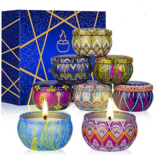 8 Velas Perfumadas, Velas De Soja, Velas De Aromaterapia con Latas Decorativas para Baño, Yoga, SPA, Relajación, Alivio del Estrés, Cumpleaños, Aniversario, Navidad, Mujeres