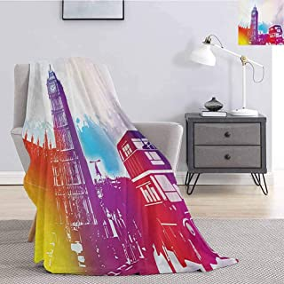 London Bedding Microfiber Blanket Historical Big Ben and Bus Great Bell Clock Tower UK Europe Street Landmark Super Soft and Comfortable Luxury Bed Blanket W70 x L70 Inch Purple Red Yellow