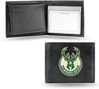 Rico Milwaukee Bucks NBA Embroidered Black Leather Bi-fold Wallet
