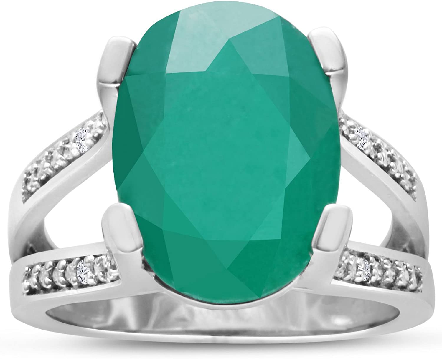 5 1 2ct Oval Shape Green Onyx and Diamond Ring Crafted In Solid Sterling Silv...