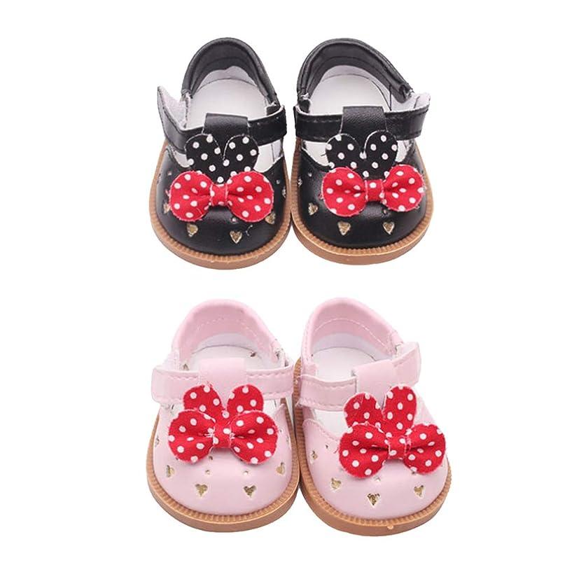 乗算顕著置換#N/A 2ペアのかわいいPUレザーの靴のちょう結びの靴に適用18インチAG American Doll Dolls Accs