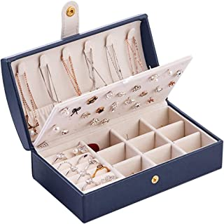 SumDirect Small Travel Jewelry Box for Women, Two-Layer Pu Leather Portable Jewelry Organizer Storage Case for Earrings,Bracelets,Rings and Necklaces-Blue