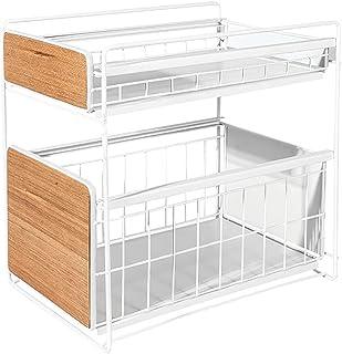 HUIJ Organisateur d'armoire à 2 Niveaux sous évier,avec tiroir de Rangement Coulissant,Cuisine,Organisateur d'armoire de S...
