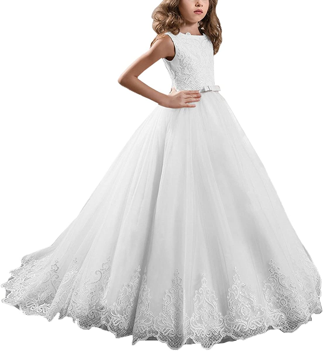 Abaowedding Max 66% OFF Long Lace free shipping Sequin Flower Girl Pageant Birthday Commun