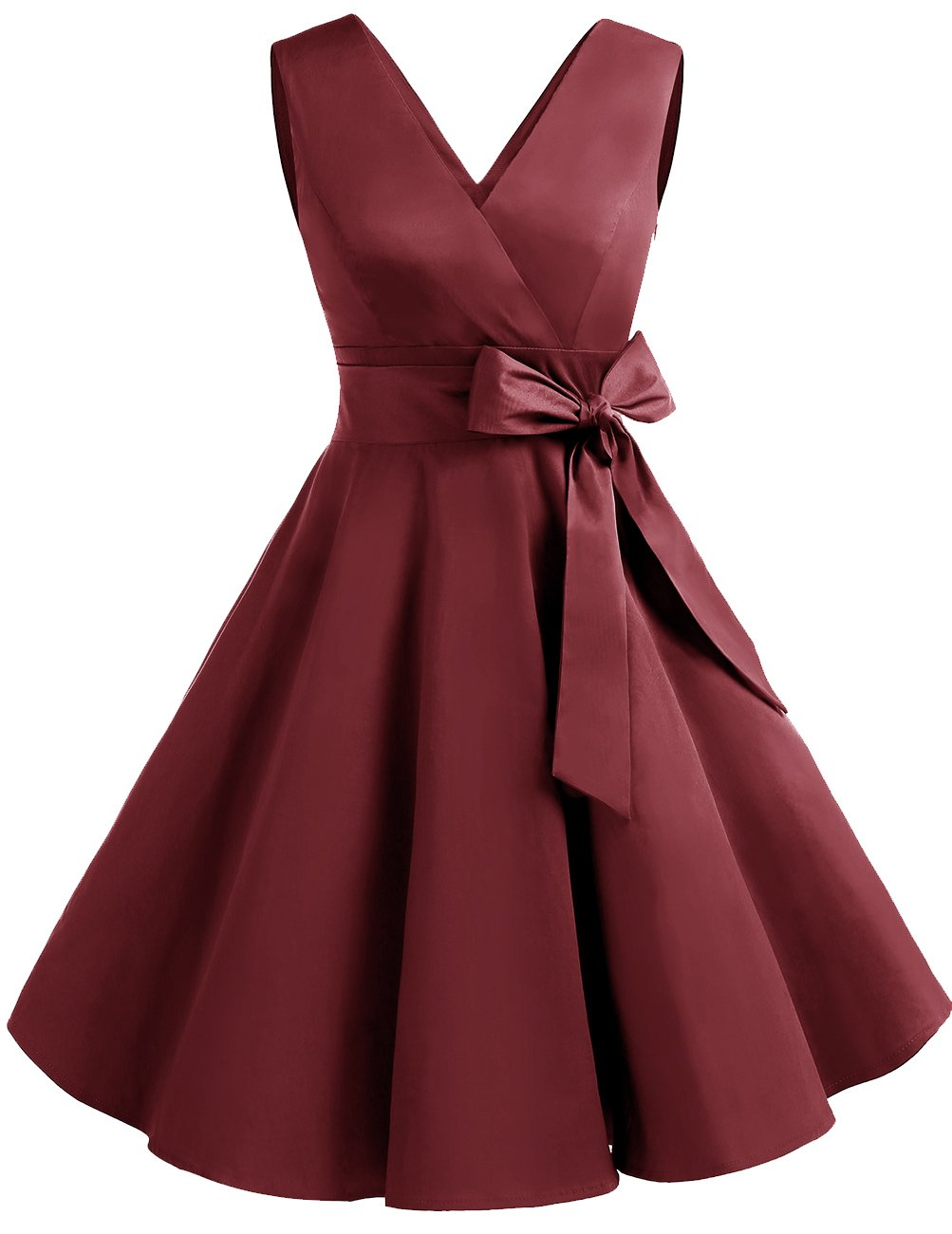 Available at Amazon: DRESSTELLS Vintage 1950s Solid Color V Neck Retro Swing Dress with Bow Tie