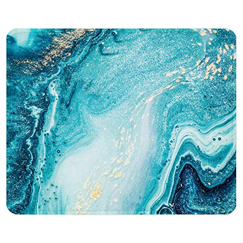 ITNRSIIET Gaming Mouse Pad with Stitched Edges, Premium-Textured Mouse Mat Pad, Non-Slip Rubber Base Mousepad for Laptop, Computer & PC, 10.2×8.3×0.12 inches, Blue Marble Gold