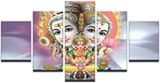 DNJKSA Abstract Paintings Posters 5 Pieces Canvas India God Shiva Wall Art Pictures Home Decor Living Room HD Printed/30x40 30x60 30x80cm-No Frame