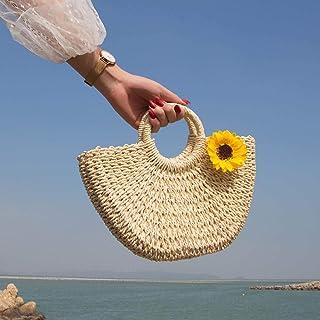 YLGB Stroh Crossbody Handtasche,Strohsack, Damenhandtasche, Damen Strandtasche-Beige plus Sonnenblume_klein,Sommer Strandt...