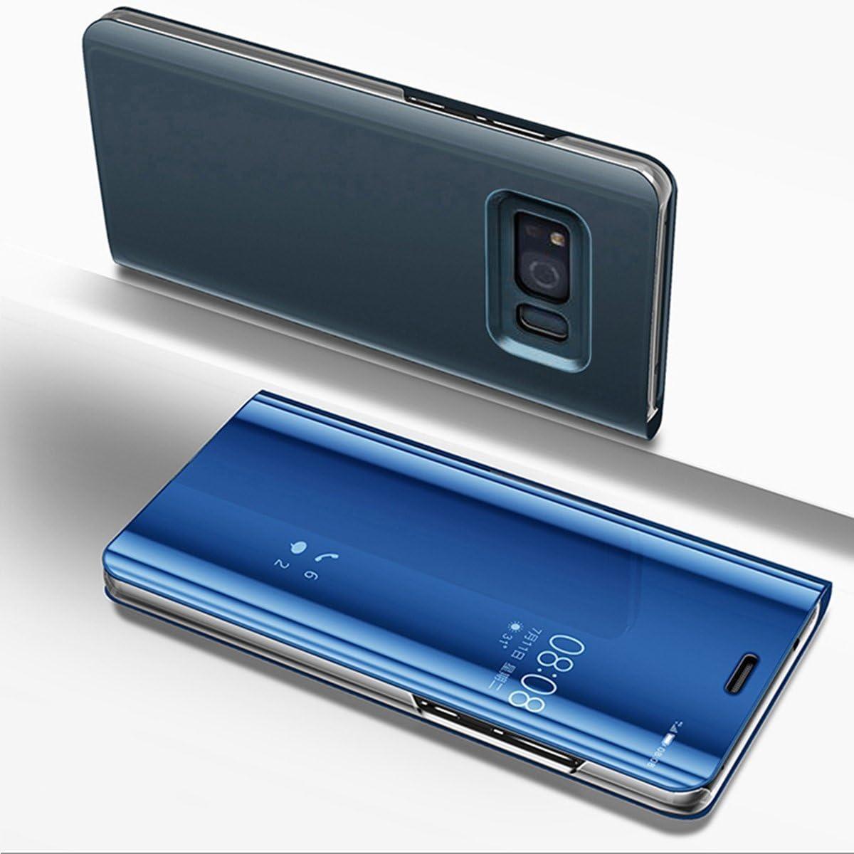 Etsue Miroir Coque Samsung Galaxy S8 Flip Cover Portefeuille PU Cuir Miroir Complet Protecteur étui Support Coque Mirror Clear View à Rabat Smart ...
