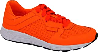 Gucci Running Neon Orange Leather Lace up Sneakers 369088 7623