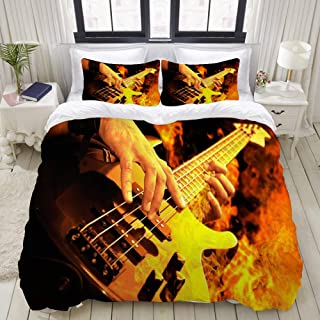 """Mokale Bedding Duvet Cover 3 Piece Set - Playing Guitar in The fire - Decorative Hotel Dorm Comforter Cover with 2 Pollow Shams - King 104""""x90"""""""