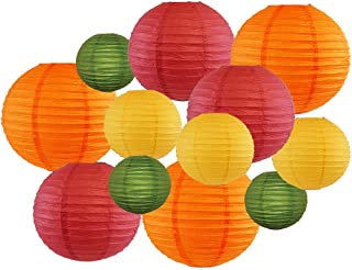 Just Artifacts Decorative Fall Round Chinese Paper Lanterns 12pcs Assorted Sizes & Colors (Color: Fall Leaves)