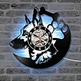 WERWN Reloj de Pared con Registro LED 3D Shepherd Dog, Reloj de Pared Moderno con Registro de Vinilo, 7 Colores, Reloj con Silueta de Animal, decoración de habitación