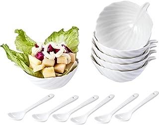 AHUA Ceramic White Souffle Dishes, Ramekins - 4 Ounce Porcelain Bowl Set For Souffle, Creme Brulee and Ice Cream - Set of 6, White Stylish Leaf-shaped Rims - Package Quantity of 1 includes 6 Ramekins