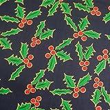 0,5m Stoff Ilex dunkelblau Weihnachten Weihnachtstsoff