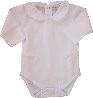 Kissy Kissy Baby Basic Long Sleeve Collared Bodysuit with Ruffle Collar