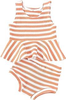 Toddler Baby Girls Shorts Sets Sleeveless Top Vest Tank+Stripe Pant Summer Outfit Set