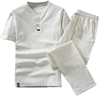 KPILP Men Suit Clearance Cotton Linen Short Sleeve Shorts Slim Fit Comfortable Breathable Pure Color Lightweight Set Suit ...