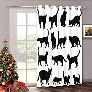 Cat - Room Darkening Curtain for Sliding Door Black Cat Silhouettes in Different Poses Domestic Pets Kitty Paws Tail and Whiskers - Energy Saving Curtain for Living Room W52 x L63 Inch Black White