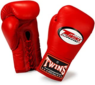 Twins Special Muay Thai Boxing Gloves Lace Closure BGLL-1 Color Red Size 8, 10, 12, 14, 16 oz for Muay Thai, Boxing, Kickb...