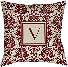 وسادة مربعة للاستخدام في الأماكن المغلقة والمفتوحة من مانيول وود ووركرز أند ويفيرز، مقاس 40.64 سم، مطبوع عليها حرف V، بلون قرمزي دمشقي