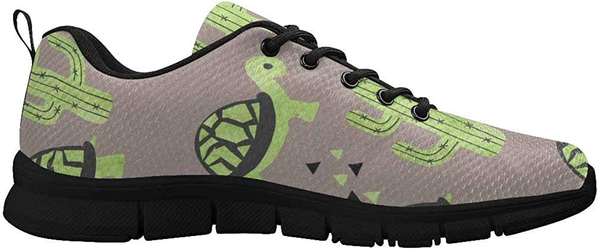 InterestPrint Cute Tortoise and Cactus Women's Athletic Walking Running Sneakers Comfortable Lightweight Shoes