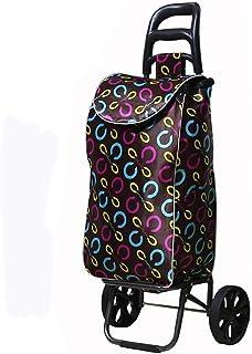 LQBDJPYS Folding Shopping Trolley 2 Wheel Foldable Large Capacity Waterproof Storage Bag Shopper Luggage Cart Waterproof F...