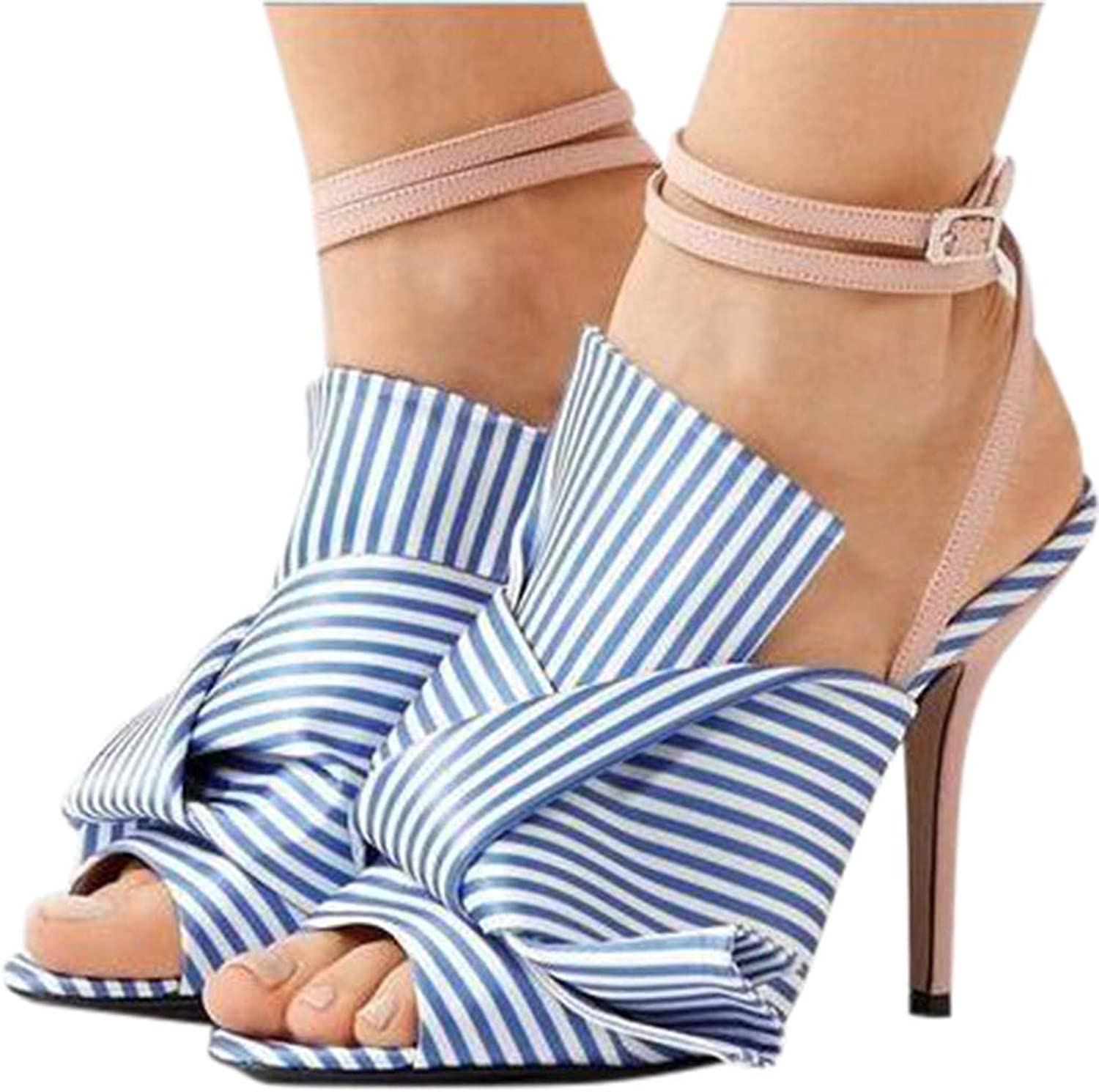 High Heeled Sandals for Women On Sale Clearance,melupa Bow One-Strap Buckle Striped shoes