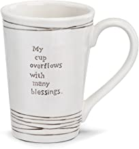 My Cup Overflows Gray Stripe 16 Ounce Stoneware and Oak Wood Mug and Coaster Set