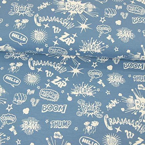 Textiles Werning algodón Jersey Texto Texto Azul Vaquero Tela Infantil - Precio válido para 0,5 Metros