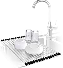 Urwanti Dish Drying Rack Over The Sink Roll Up Stainless Steel Silicone Coated Multipurpose Foldable Kitchen Dish Drainer Rack (Black)