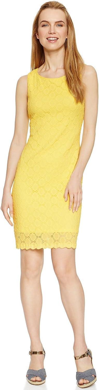 Ronni Nicole Circle-Lace Sleeveless Sheath Dress, Yellow, 10