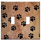 Switch Plate Double Toggle - Texture Grungy Background Scrapbooking Paw Prints