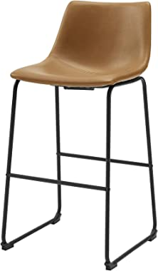 New Set of 2 Faux Leather Barstools with 30 Inch Seat Height Whiskey Brown