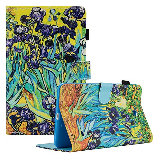 Dteck Galaxy Tab 4 8.0 inch Smart Shell Case, (TM) Stand Soft TPU Flip Case Wallet Cover with Auto Wake/Sleep Feature Cover for Samsung Galaxy Tab 4 8.0 inch SM-T330 T331 T335 T337A Tablet,Irises