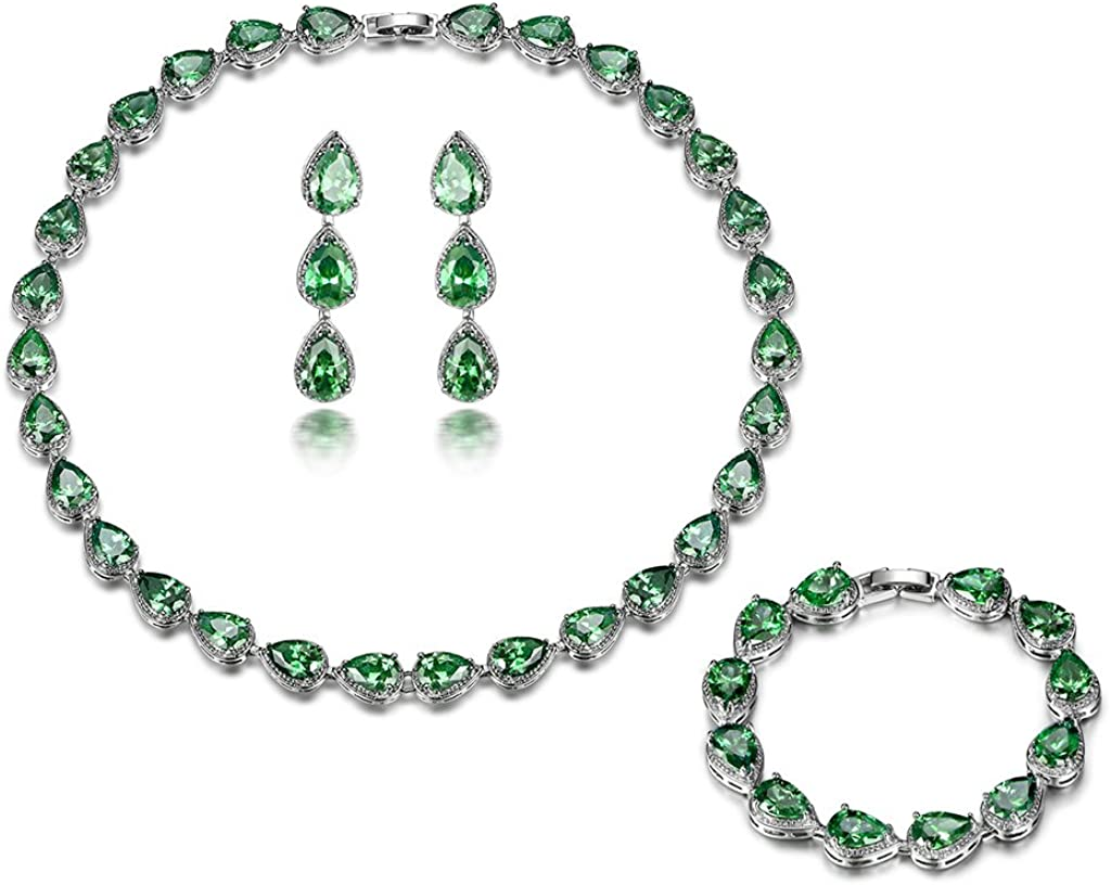 GULICX White Gold Plated Tear Drop AAA Cubic Zirconia Women Bracelet Earrings Necklace Jewelry Set