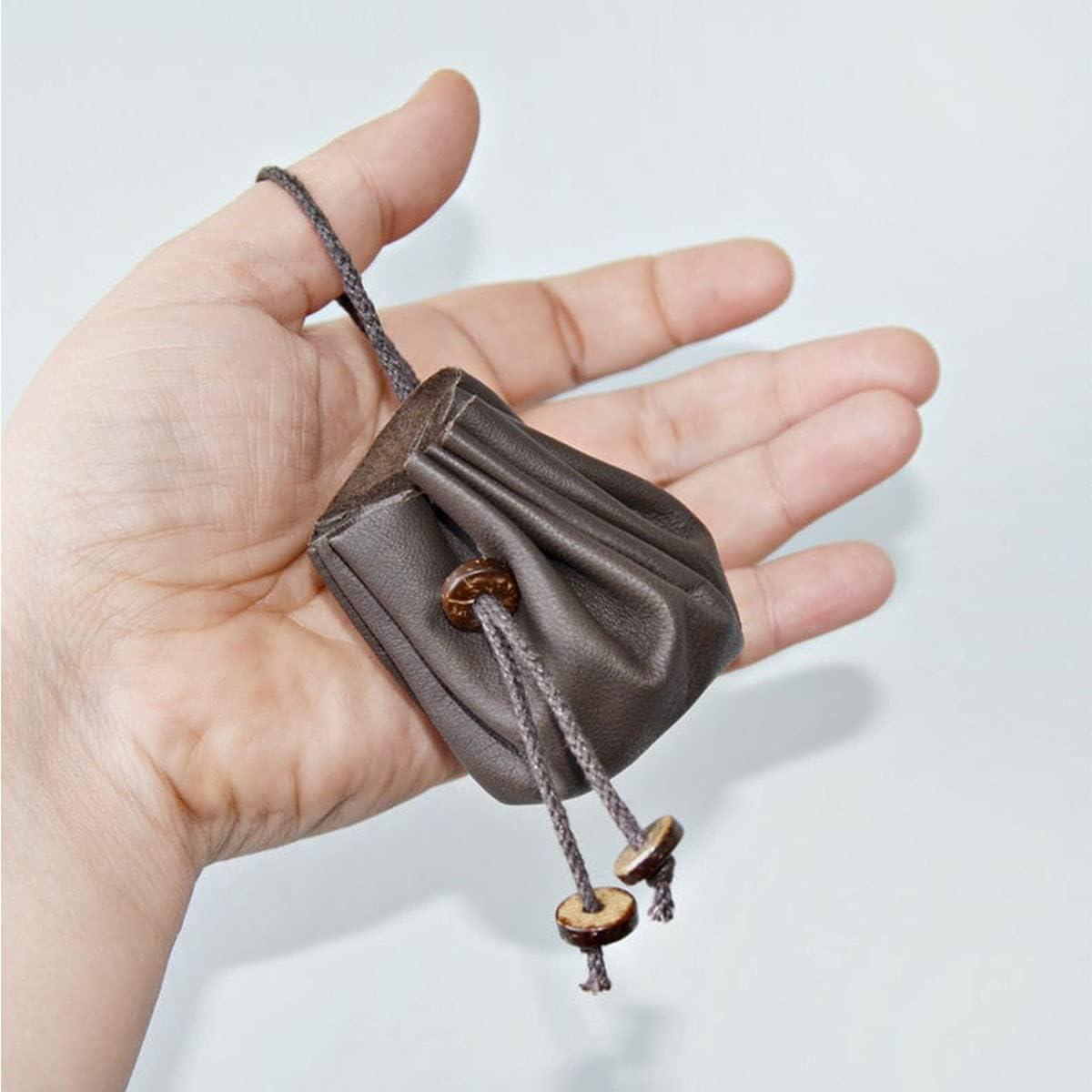 2 Pcs Leather Drawstring Coin Purse Pouch, Vintage Leather Belt Wallet Handbag for Adult, Medieval Renaissance Pouch Bag Viking Costume Accessory, Trinket Bag