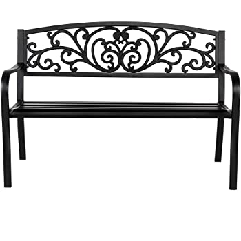 "VINGLI 50"" Patio Park Garden Bench Outdoor Metal Benches,Cast Iron Steel Frame Chair Front Porch Path Yard Lawn Decor Deck Furniture Clearance"