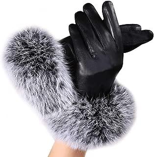 Swyss Women's Leather Dressy Gloves Faux Rabbit Fur Trim Cuff Thermal Lining Mittens
