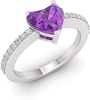 Diamondere Natural and Certified Heart Cut Amethyst and Diamond Engagement Ring in 14k White Gold | 1.00 Carat Ring for Wo...