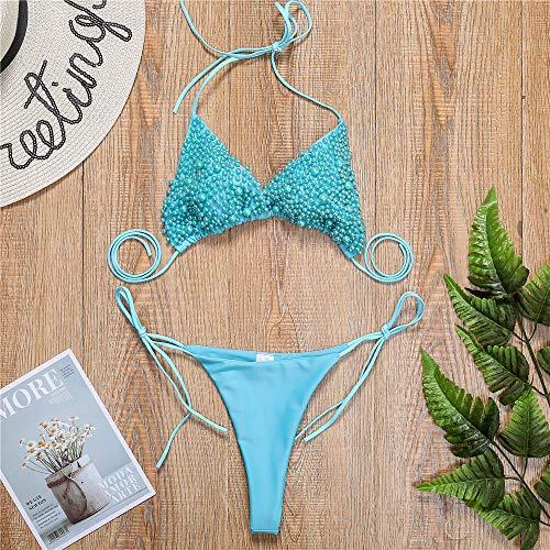 RHTS Lady Tankinis Girl Bikini New Pearl Bikini sexy Tanga Badeanzug Badeanzug blau_M
