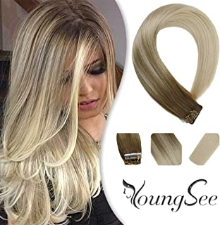 YoungSee Straight Tape in Human Hair Extensions Balayage Light Brown to Blonde Tape in Real Hair Extensions Human Hair for Women 20pcs 50g 14inch