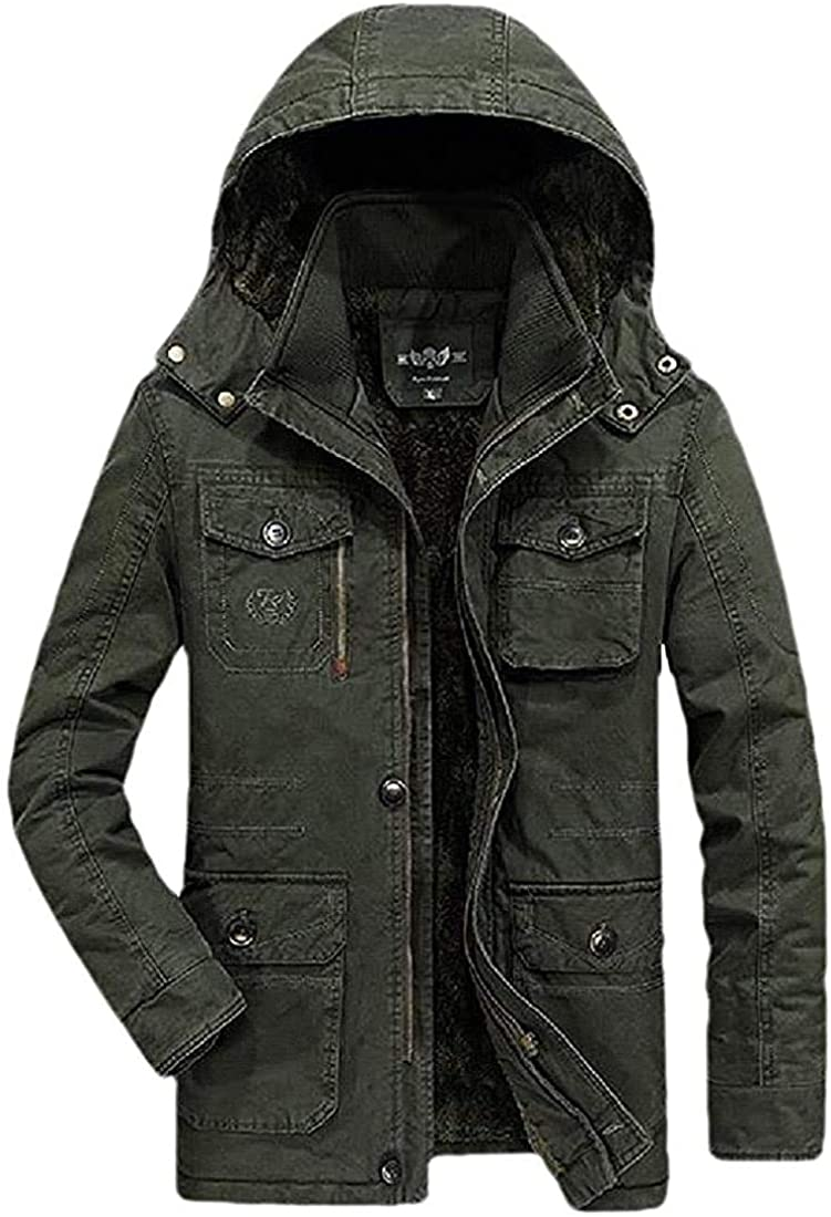 TIMOTHY BURCH Men's Casual Fleece Lined Outwear Hooded Big and Tall Parkas Coat