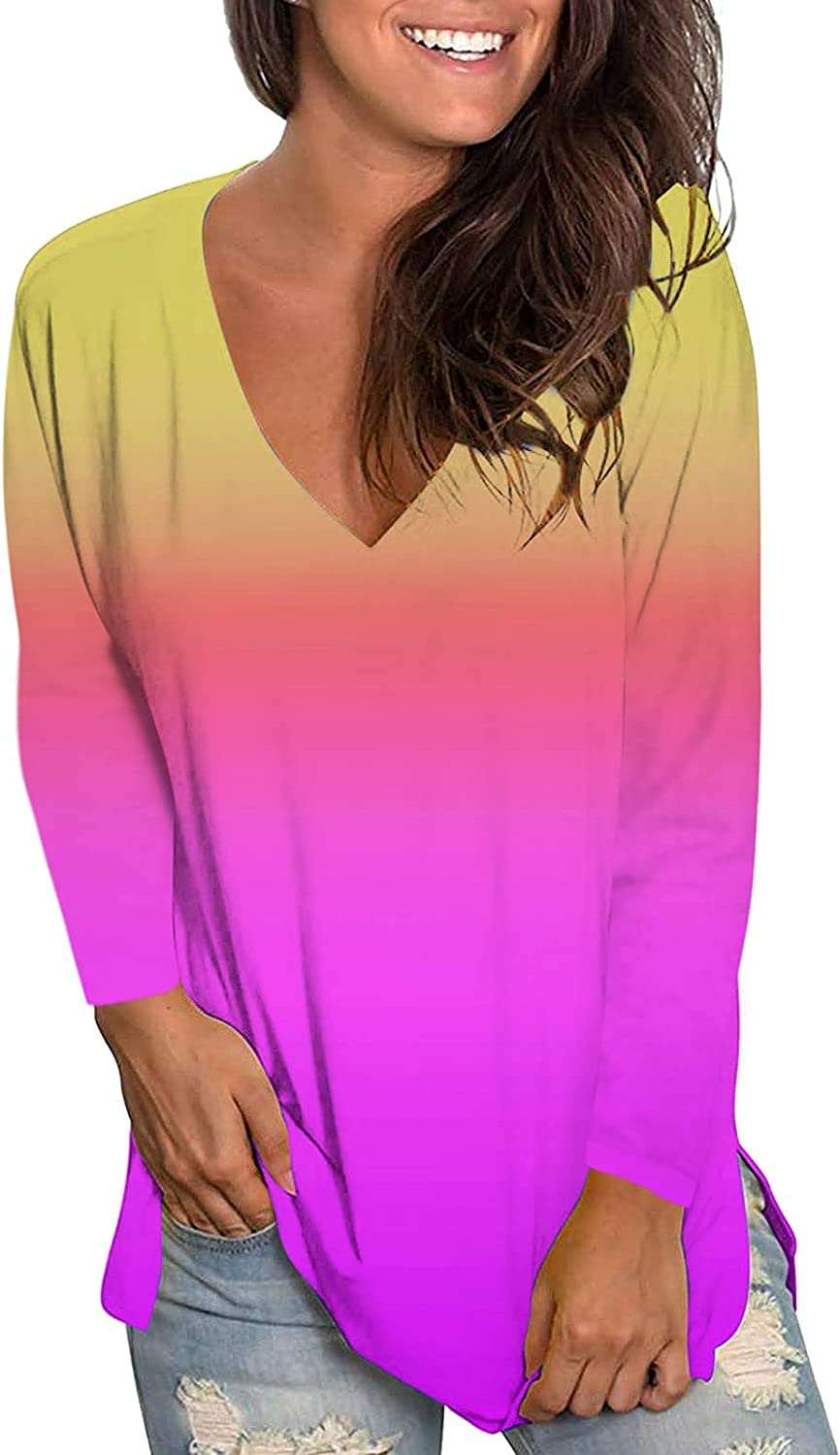 Womens Casual Gradient Tops Long Sleeve V-Neck T-Shirts Tie Dye Shirts Fashion Autumn Loose Blouse