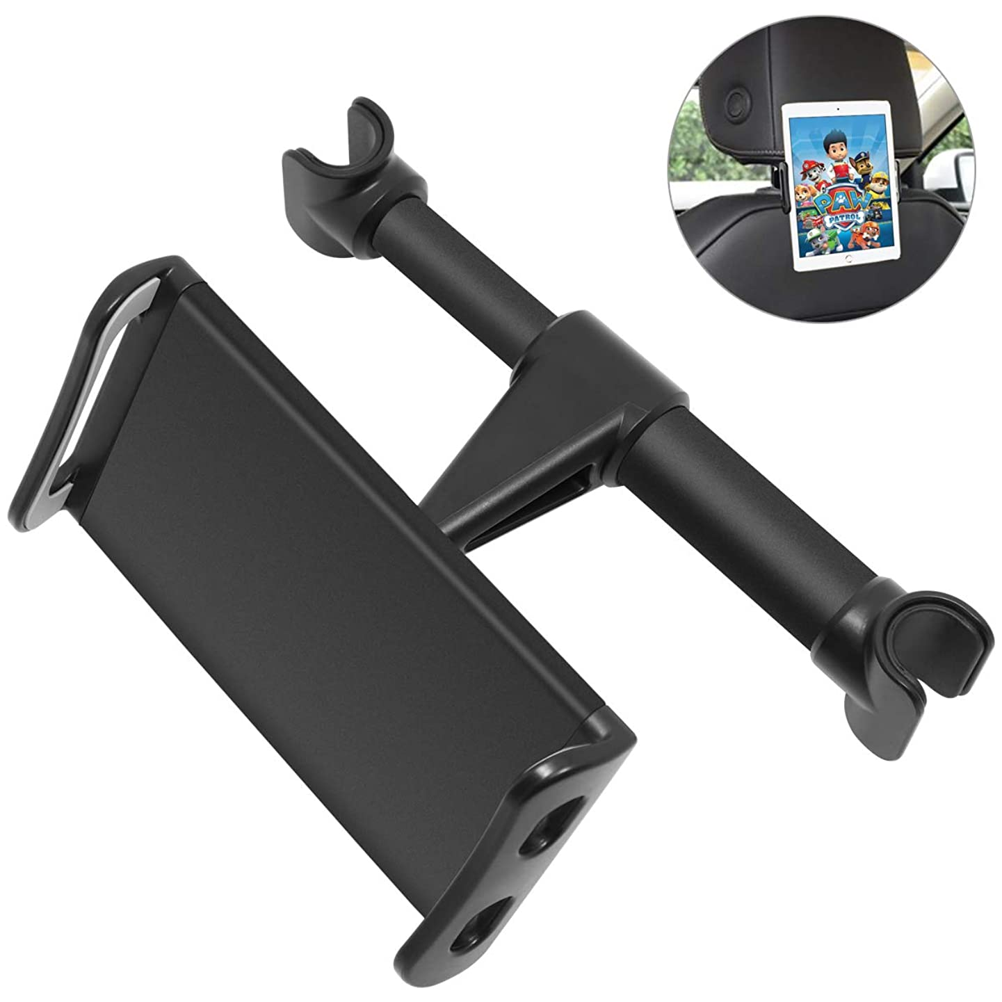 Car Headrest Mount, DERIMIZZ Car Seat Tablet Holder Tablet Headrest Holder Backseat Holder for Kids, Compatible with Smartphones Tablets Switch 4.5